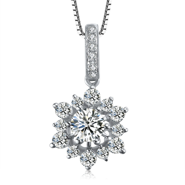 ZOCAI SNOWFLAKE 0.75 CT SI / I-J DIAMOND SOLID 18K WHITE GOLD PENDANT PENDANTS  925 STERLING SILVER CHAIN NECKLACE