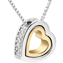 Heart Crystal Necklaces & Pendants 18K Gold And Silver Plated Jewellery & Jewerly 2016 Necklace Women Fashion Jewelry Wholesale(China (Mainland))