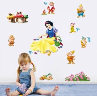 High Quality babyroom Kindergarten wall sticker girl princess snow white and the seven dwarfs cartoon sticker(China (Mainland))