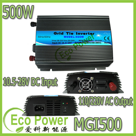 CE approved mppt 500w micro grid tie inverter 10.5-28V DC input,120V /230VAC output Solar Power Pure Sine Wave(China (Mainland))
