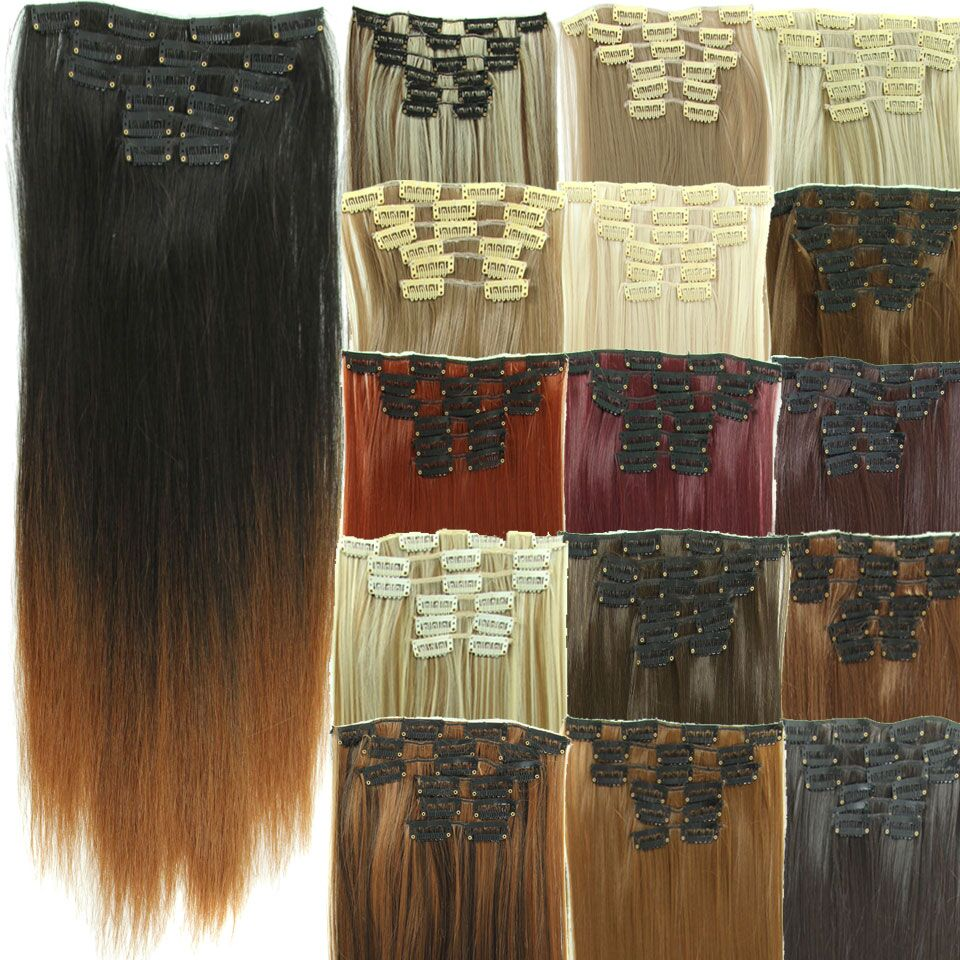 """Cheap 23"""" Synthetic Straight Hair Piece 16 Clip In Hair Extensions 6 pcs/set False Hair piece Synthetic Hair Extension Hairpiece(China (Mainland))"""