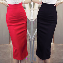 New Fashion 2016 Women Skirt Midi Skirt OL Sexy Open Slit Slim stretch High waist Pencil Skirt Elegant Ladies Skirts 2 Colors(China (Mainland))