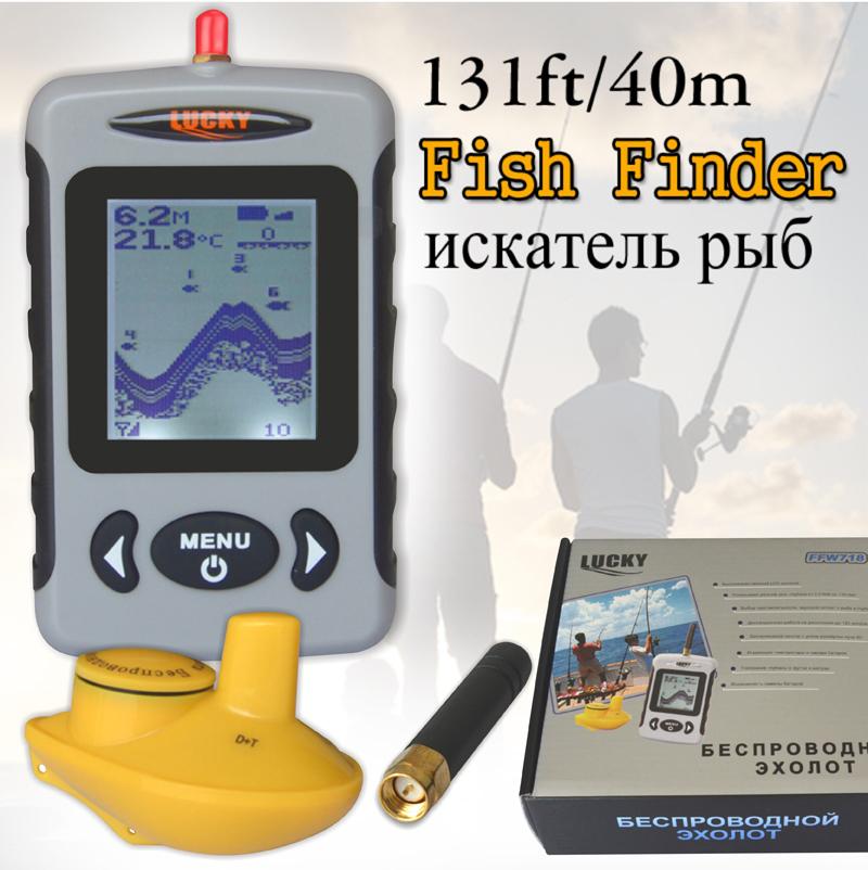 Wireless Russian Menu Sonar Portable Fish Finder Sensor Echo Sounder Alarm River Lake Sea Bed Live Update Contour 131ft/40M(China (Mainland))