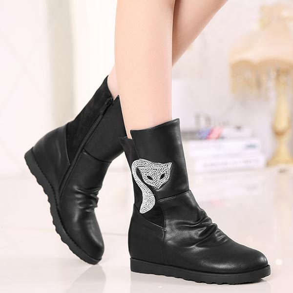 Fashion Shoes Woman 2016 Winter Warm Mixed Leather Womens Ankle Boots Flat Heels animal prints Rhinestone Ladies Boots C674(China (Mainland))