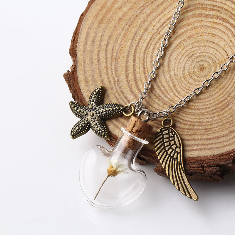 """""""Freedom"""" Glass Bottle Fashion Cinnamon Alloy Feather&Starfish Pendant Necklace Silver Link Chain for Women Fine Jewerly NS2657(China (Mainland))"""