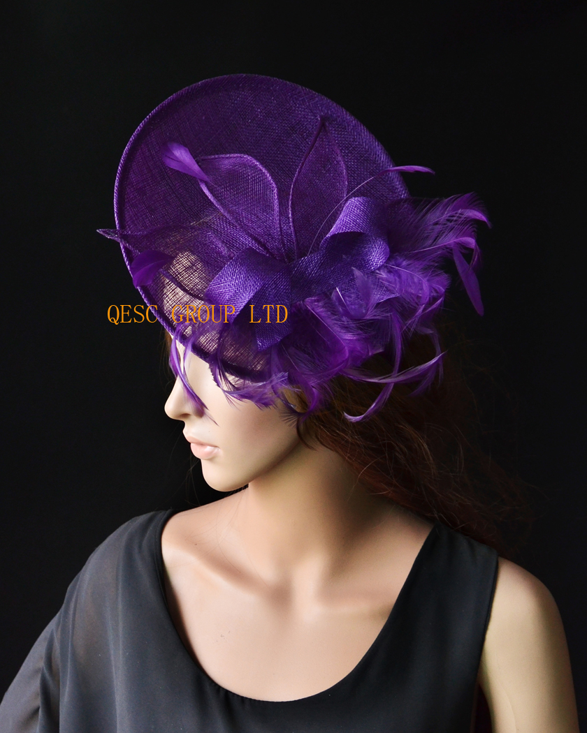 Purple Big sinamay fascinator wedding hat with sinamay loops&feathers&handmade flowers for Royal Races Kentucky derby.(China (Mainland))