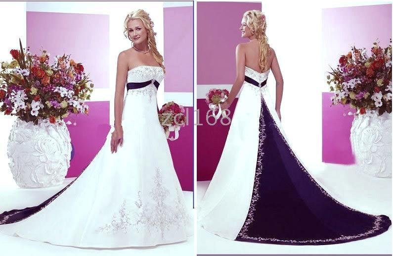 New fashion blue purple white red accent color embroidery for Wedding dress with purple embroidery