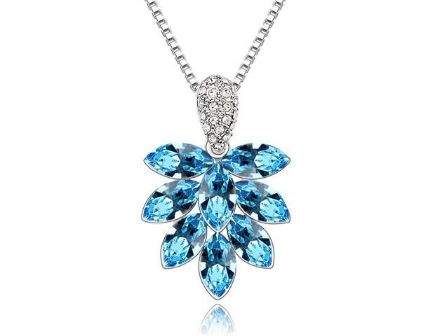Blue Crystal Pendant Flower Necklace Made With Swarovski Elements Wedding Women Jewelry Fashion Jewellery For Females Sautoir(China (Mainland))