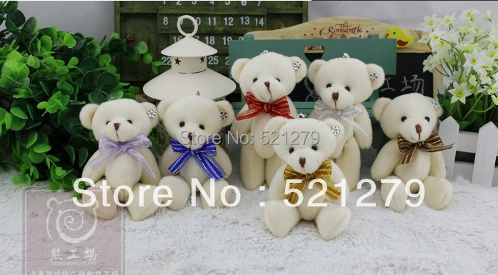 free shipping 24pcs/lot mini joint diamond teddy bear toy with tie bow,bouquet material toys,wedding/valentine's day gift(China (Mainland))