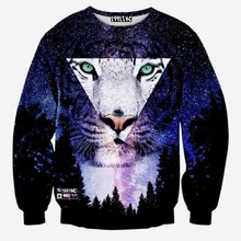 Newest Spring Autumn 3d sweatshirts men/women hoodies harajuku tops clothes creative print galaxy space Triangle Tiger hoodie(China (Mainland))