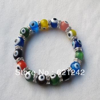 Free Shipping Wholesale 12pcs Mix Color Evil eyes Bracelet Fashion bead bracelet women Hand Thread bracelet Bangle Style EB321