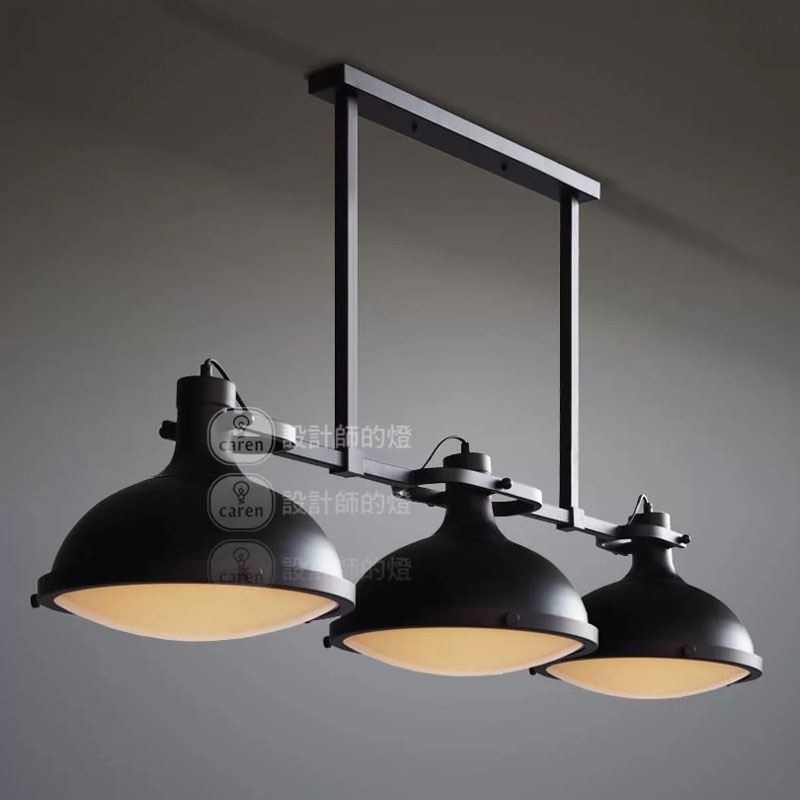 Rh loft vintage american retro style industriel 3 t tes for Lustre suspension triple