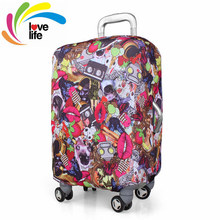 Enjoy Your Trip Stretch Fabric Luggage Cover Protector Personalization Travel Accessories Magic Tape Suitcase Covers Sizes S/M/L(China (Mainland))