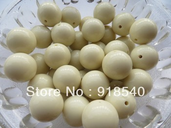 Ivory Color Large 20MM 105pcs Big Chunky Gumball Bubblegum Acrylic Solid Beads ,Colorful Chunky Beads for Necklace Jewelry