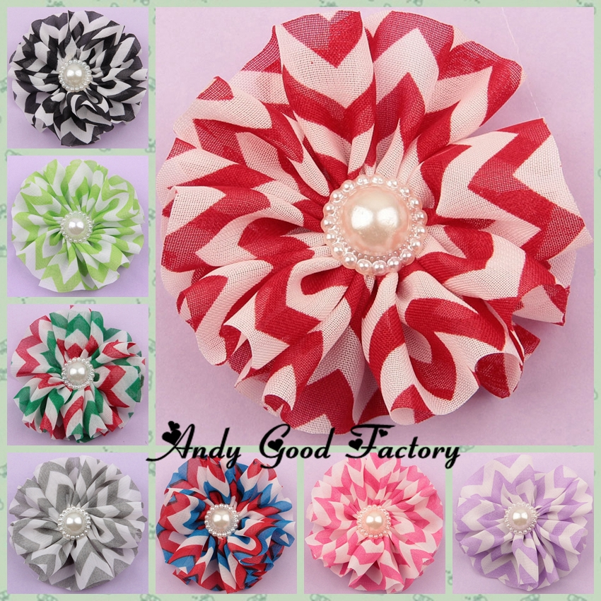 2.6 Chevron Chiffon Flower With Pearl Button For Baby Headband Girls Hair Accessories Fashion Chiffon Flowers 200pcs/lot FL029<br><br>Aliexpress