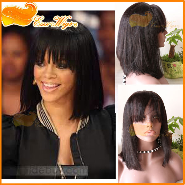 100% human hair wigs with bangs short bob wigs indian remy hair lace front wig or machine weft cap bob wigs straight 1B color(China (Mainland))