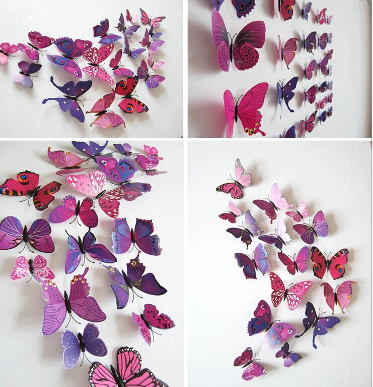 Christmas Home Decoration Butterflies12pcs  3D Simulation Papel Parede Decor Cute Butterfly Wall Stickers Art Decal mariposas
