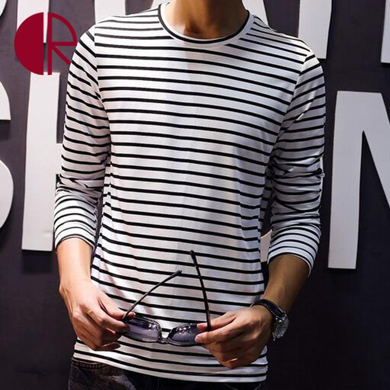 2016 Spring New Casual Mens T-shirts Men Cotton O-neck Striped Long Sleeve T-shirt Men's Fashion T Shirts Black And White CR1606(China (Mainland))