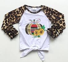 Otoño/Invierno Halloween bebé niñas boutique camisetas ropa leopardo calabaza girasol algodón top niños raglans glaseado manga(China)