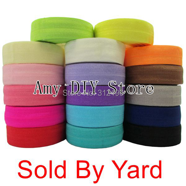 Free Shipping 10 yards/lot 40 Colors Fold Over Elastic 5/8 Inch FOE Girl DIY Accessories Stretchy Shiny Band Selling By Yard(China (Mainland))