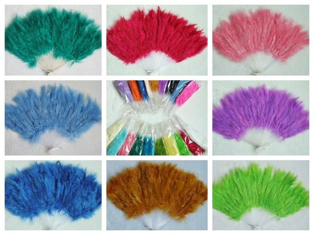 Wholesale 100pcs/lot colour mix burlesque fans fan dance feather fan  Christmas gifts