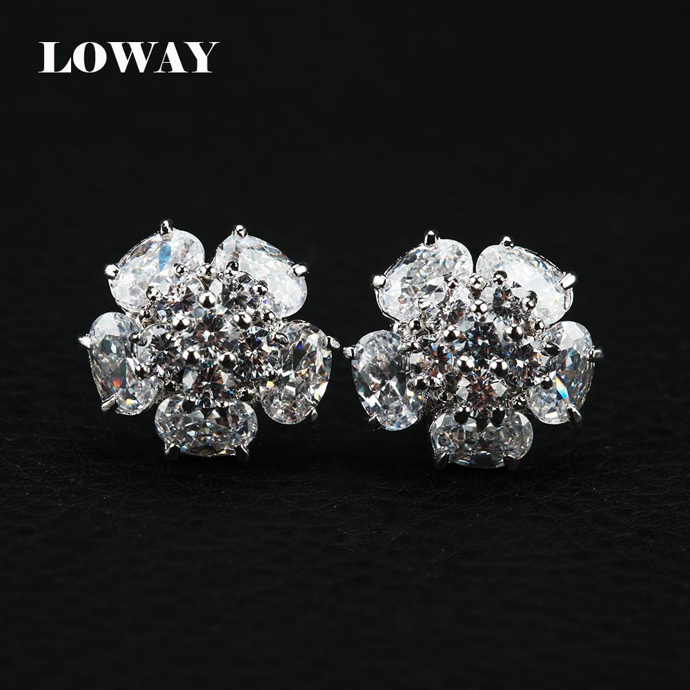LOWAY Platinum Plated Earring Women Fashion Flower Elegant Female Cubic Zirconia Studs ED2852 - Jewelry Factory Store store