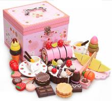 Классический миниатюрный кухня играть клубничный шоколадный торт коробка девочка подарок игрушки brinquedos menina