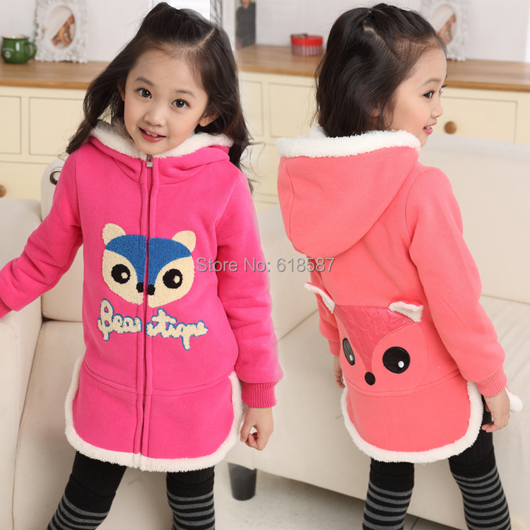 2014 Autumn Winter Sweater Dress Hooded Suit Cotton Children 3~11 Years Old Clothes Girls 256