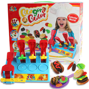 Colorful 3D Plasticine Playdough Hamburg Mould set Soft clay Girl Creative toys Free shipping to Russia(China (Mainland))