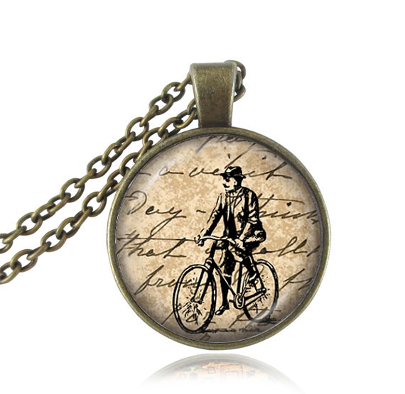 Vintage bike pendant necklace ride a bike picture retro bicycle choker statement necklace glass dome letter jewelry best gifts(China (Mainland))
