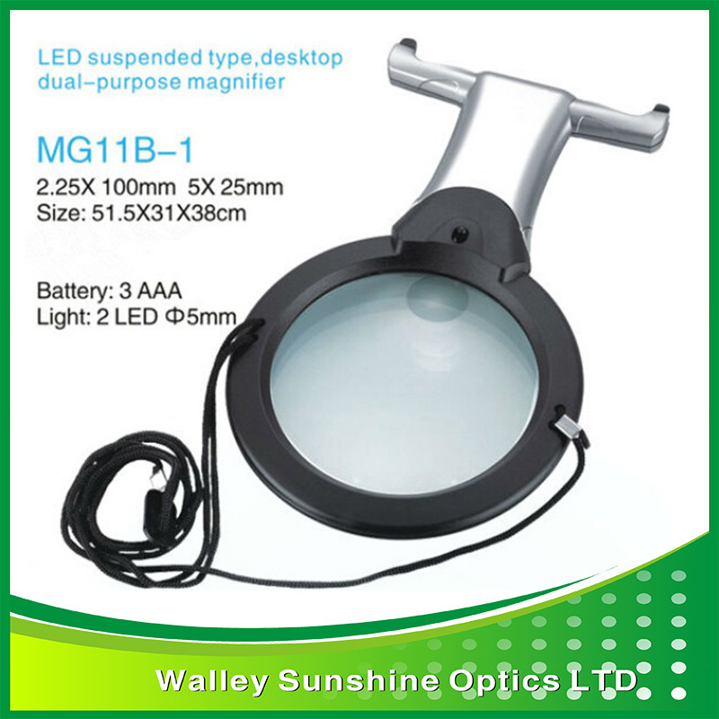 2.25X,5X Hands Free Suspended Desktop Dual Purpose Magnifying Glass LED Magnifier w/ Hanging Neck Strap for Embroidery Reading <br><br>Aliexpress