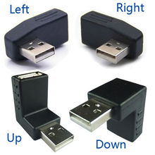 4-piece set  one left+one right+one up+one down 90 degree right angle usb male to female connector redirectional adapter(China (Mainland))
