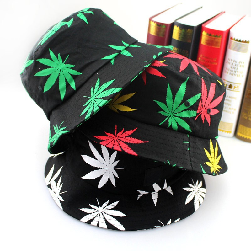 Free Shipping 2015 New Fashion Hip Hop Green White Leaf Print Fishing Caps  Weed Bucket Hats For Mens c955f459cf5c