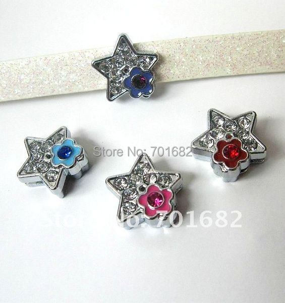 Wholesale 100pcs 8mm Star with small Flower Slide Charms DIY charms Fit Pet Collars Wristbands Belts(China (Mainland))