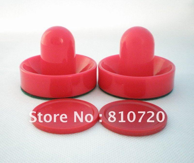 "Free shipping 2PCS red Air Hockey Table 96mm 3-3/4"" Goalies Pusher mallet & 2PCS 63mm Puck 2-1/2"" NEW(China (Mainland))"