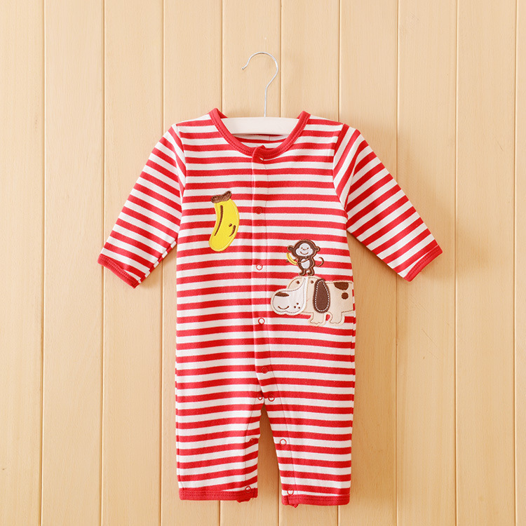 Carters 2015 brand baby clothing 100% cotton newborn baby rompers red striped cartoon monkey baby girl clothes jumpsuit(China (Mainland))