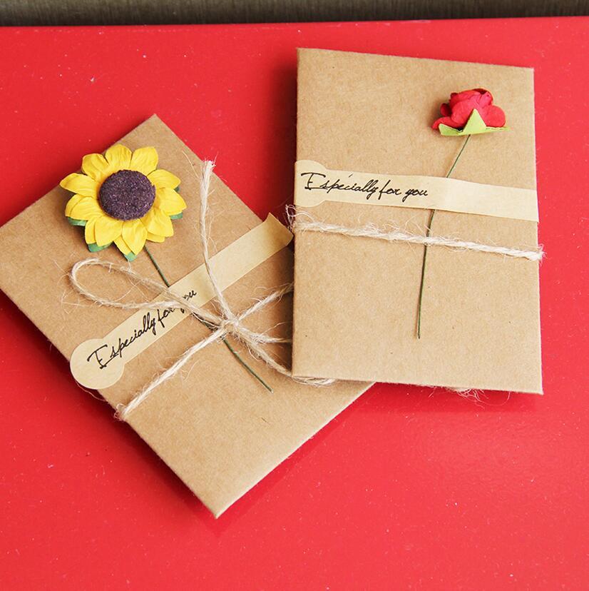 4 set /lot DIY Retro Flowers Handmade Envelope Kraft Paper Postcard blessings combination Birthday Cards krean statinery 1657(China (Mainland))