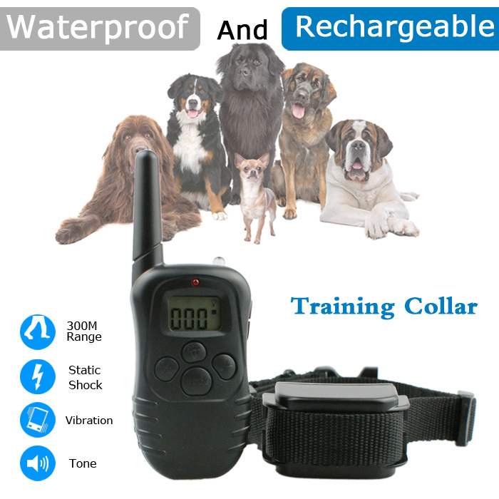 Cheap And Best Dog Equipment 300m Remote Control Dog Training Collar With Lcd Display Waterproof And Rechargeable Device 998DR(China (Mainland))