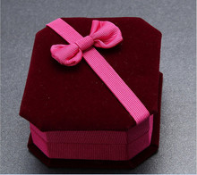 bow-knot Velvet box top grade Necklace pendant box Jewelry Accessories boxes Gifts necessary Free shipping(China (Mainland))