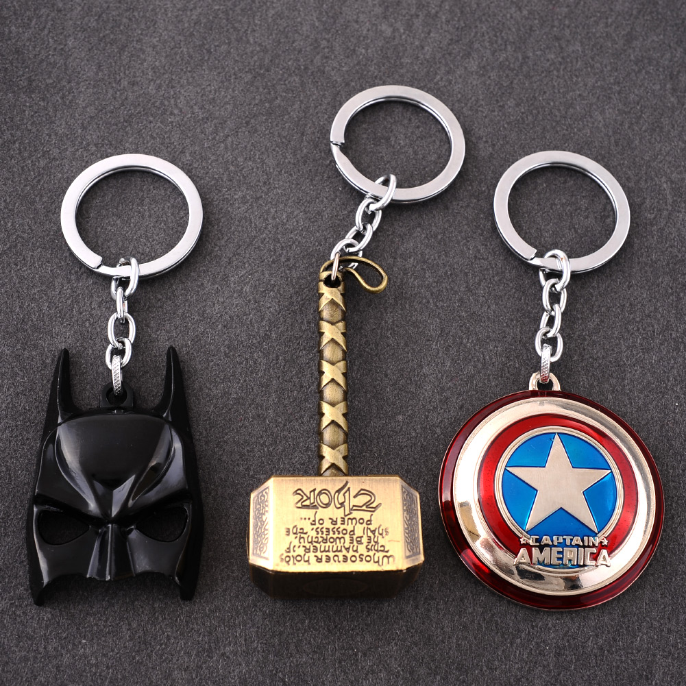 Hero Avengers Marvel Character Captain America Thor Hammers Batman Mask KeyChain Keyrings Key Chain - Shopping Paradise From China store