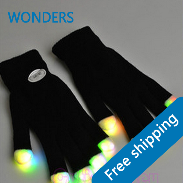Free shipping Wholesale - LED Gloves Rave light show fingers Colorful Lighting, flashing / light-up glove(China (Mainland))