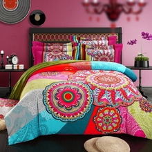 Twin/Queen/King 100% Cotton 3D Bohemian Boho Style Colorful Duvet Cover Set/bed Linens/bed Sheet Sets/bedding Sets(China (Mainland))