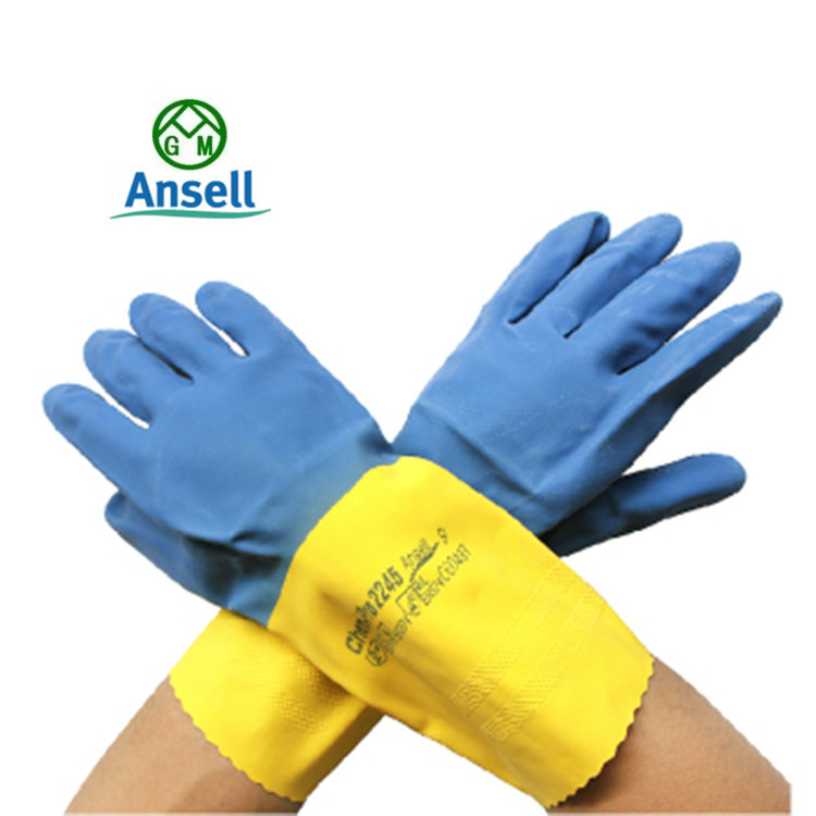 2015 new chemicals and work gloves Ansell gloves for medical laboratory liquid chlorine Dante color latex gloves(China (Mainland))