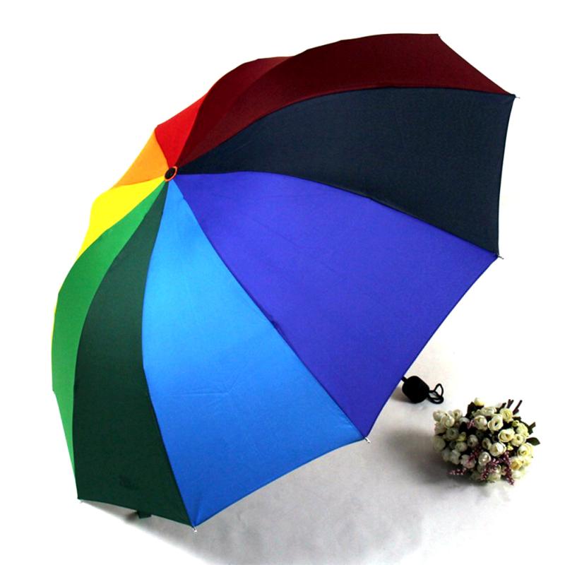 Creative 1 pcs Colorful Umbrella Rainbow Rain Drops Novelty New Year Xmas Gift umbrella rain women men Fashion L50(China (Mainland))