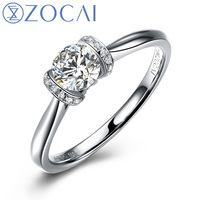 ZOCAI French Kiss On Champ Elysees 0.30 CT Certified D-E / SI  Round Cut Diamond Engagement Women Ring 18K White Gold (Au750)