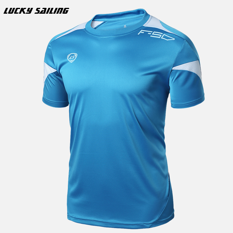LUCKY SAILING 2016 Men's summer Tights Shirt Athletic Design T-shirt Running Fitness tees O-neck Short-sleeve Top Soccer Jerseys(China (Mainland))