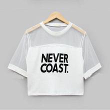 Sexy Women Girls Loose Crop Top T Shirt Crew Neck See through Gauze Tops Blouse