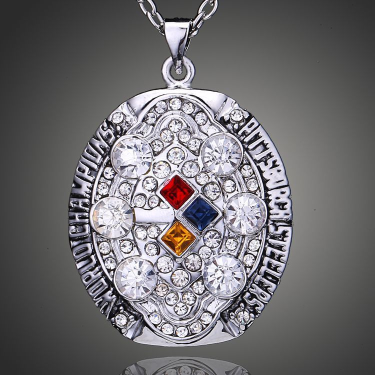 Free shipping! new arrival replica 2008 super bowl Pittsburgh Steelers Championship Pendant fine jewelry necklace for gift.(China (Mainland))