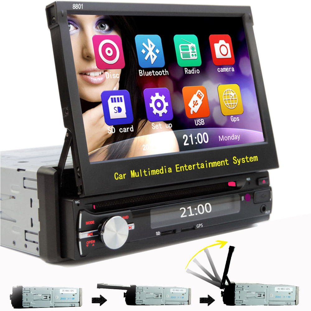 Free Shipping 1 Din car dvd player Motorized Flip out 7 Touchscreen Monitor Bluetooth gps Navigation AUX input USB SD(China (Mainland))