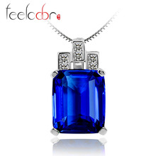 Feelcolor 9.52ct Luxury Elegant Ocean Blue Sapphire Pendant Fashion Women Gift 925 Solid Sterling Silver Jewelry 2015 Brand New(China (Mainland))
